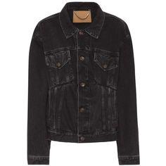 Balenciaga Denim Jacket ($925) ❤ liked on Polyvore featuring outerwear, jackets, black, balenciaga, jean jacket, balenciaga jacket and denim jackets