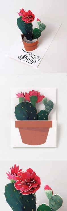 Our punniest card, yet. Send this pop-up to your prickliest friend and brighten their day with a hot pink bloom.