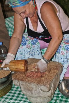 Pounding the meat in a stone mortar the old-fashioned way will yield the best kibbeh, or read my tip on using an appliance instead