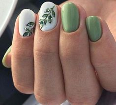 Com white summer nails, summer nail art, cute spring nails, sum Nail Art Designs, Green Nail Designs, Elegant Nail Designs, Pedicure Designs, Manicure E Pedicure, Elegant Nails, White Summer Nails, Summer Nails 2018, Cute Spring Nails