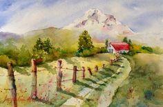 Best Watercolor Artists | watercolor painting mt hood meadows is an original framed watercolor ...