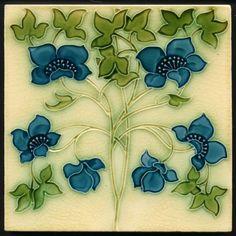 TH2808 Superb Pilkington Lewis Foreman Day Floral/Arts & Crafts Tile c.1905 #ArtNouveau