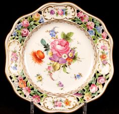 Hand Painted Reticulated Dresden Dessert Set/Service: 3 Compotes and 11 Plates.
