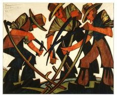 Sybil Andrews The Mowers Circa 1933 Art Print Suitable for Framing Linocut Prints, Giclee Print, Poster Prints, Woodcut Art, Art Prints For Sale, Fine Art Prints, Sybil Andrews, New Zealand Art, Canadian Artists