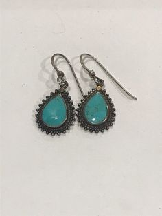 fc40ac1cd Sterling Silver Mexico/ Native American BOMA Turquoise Earrings Teardrop  Frame Beaded Simple Ornate by SofiasMarket