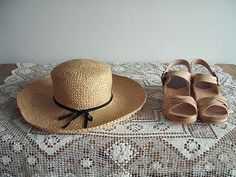 wooden sandals and straw hat