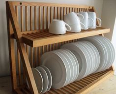Wooden Dish Rack Bamboo Dish Rack With Utensil Holder Uk Wooden Plate Rack Wall Mounted Wooden Dish Rack, Wooden Plate Rack, Plate Rack Wall, Wooden Plates, Vintage Plates, Large Plates, Plate Holder, Dish Storage, Plate Storage
