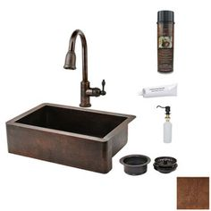 Premier Copper Products 22-in x 33-in Antique Copper 1-Basin Copper Apron Front/Farmhouse-Hole Kitchen Sink with Faucet Set