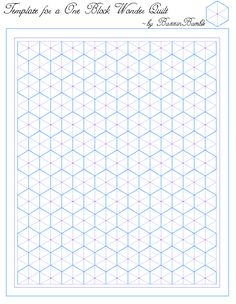 Template for a One Block Wonder Quilt. A basic hexagon grid. The center of each hexagon is marked with a pink dot, which is handy to know where it is when planning out your quilting pattern so you can avoid having to sew through it as often as possible.