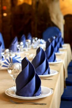 Napkin folding. Great way to add visual to your table.