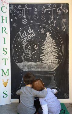 Christmas Let it snow! Christmas Window Decorations, Christmas Door, Country Christmas, Christmas Crafts, Christmas 2015, Christmas Doodles, Christmas Drawing, Christmas Paintings, Chalkboard Doodles
