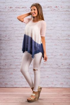 """Future Of Fab Top, Blush-Navy""The future is looking great for you have purchased this top! That blush color is so on trend this summer! #newarrivals #shopthemint"