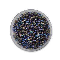 rocaille ronde transparente irisée gris