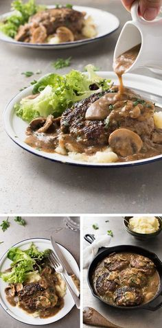 Salisbury Steak with Mushroom Gravy - Juicy steaks with my little tip for extra flavourful gravy! Greek Recipes, Meat Recipes, Healthy Dinner Recipes, Cooking Recipes, Delicious Recipes, Recipies, Salisbury Steak With Mushroom Gravy Recipe, Salisbury Steak Recipes, Recipetin Eats