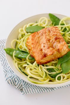 21 Day Fix- Teriyaki Ginger Salmon with Sesame Zucchini Noodles (1 red, 1.5 green & 1/2 blue)