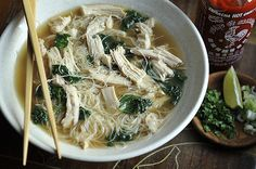 "Turkey Pho - This recipe is on my list because my Aunt Mary said on FB ""It is so f'ing wonderful. My house smells soooo good. Probably my favorite soup. The more sriracha the better! It's healthy, healthy, healthy!!!!"""