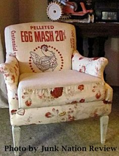 My amazing friend Coquille's chair . . . love how she combined feedsacks with romantic roses!