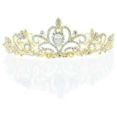 Kate Marie 'osie' Rhinestone Crown Tiara Headband in Gold ($70) ❤ liked on Polyvore featuring jewelry, accessories, hair, hats, tiaras, jewelry & watches, yellow, rhinestone jewelry, crown jewelry and yellow gold jewelry