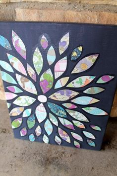 Scrapbook Paper Flower Petals- collage on 11x14 in canvas $25 cool idea
