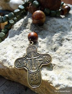 Necklace, Mystery, Organic Gemstones, Bronze 4-Way Cross and Russian Prayer, Inspirational Soulful Sacred Rosary Style, Brown Green Burgundy