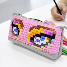 Pencil Case | Upixel bags, backpacks & accessories Australia Diy Create your own design with 24 colours pixel chips. Adults, Kids we all can play and create!