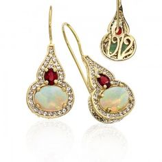 Generations 1912 Opal And Red Fire Sapphire Earrings