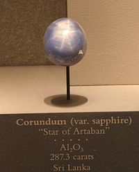 The Star of Artaban is a 287-carat cabochon-cut star sapphire currently located at the Smithsonian National Museum of Natural History. Its origin is somewhat obscure but it is believed to come from Sri Lanka. Unlike some other sapphires, it is not transparent and is of a milky blue colour. It was donated by an anonymous member of the Georgia Mineral Society in the 1941–1943 time period. Name is based on the tale of Artaban, a wise man from Persia who set out to meet the Three Wise Men.