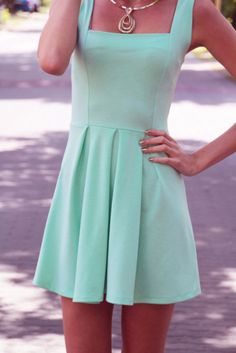mint fit and flare dress. beautiful silhouette, but a tad too short for this tall girl.