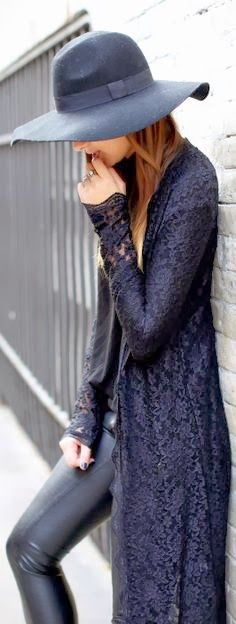 Lace Jacket & Leather Pants