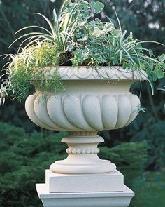 A stylishly ornate cast stone garden planter with spiralled gadrooning and an egg and dart rim. Large Garden Pots, Garden Urns, Stone Planters, Urn Planters, Classic Garden, Portland, Garden Stones, Garden Ornaments, Container Gardening