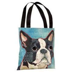 "Tote bag with a Boston terrier motif and typographic details.   Product: Tote bagConstruction Material: Premium polyester poplinColor: BlueDimensions: 18"" H x 18"" WCleaning and Care: Wipe clean"