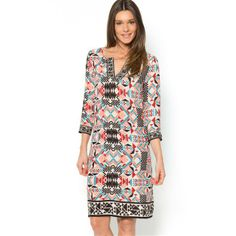Ethnic Print Tunic Dress with Jellabah Neckline I like this simple style dress which is lifted by the print #newyearstylechallenge