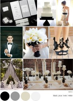 Black, ivory, white and silver wedding