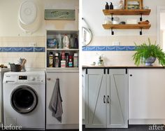 DIY Laundry Room with Farmhouse Shelves