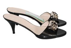 Prada Charcoal Patent Mules  http://www.consignofthetimes.com/product_details.asp?galleryid=5075#