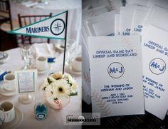 Baseball Themed Wedding Blue Jays, baseball theme, centrepieces, table names, wedding programs, baseball themed tables