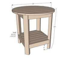 Benchright Round End Tables Make this side table inspired by Pottery Barn Benchwright Side Table! Free DIY plans from Ana White! Round End Tables, Round Patio Table, Diy End Tables, Diy Table, Wood Table, Side Tables, Ana White, Furniture Plans, Diy Furniture
