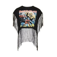 Iron Maiden Fringe Boxy Tee by and Finally (£25) ❤ liked on Polyvore featuring tops, t-shirts, black, topshop tops, fringe t shirt, loose fit tops, loose t shirt and fringe tee