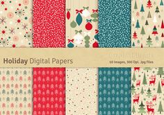 Holiday Digital Papers by GraphikCliparts on Creative Market