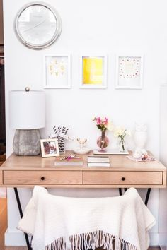 Glam and girly office inspiration: http://www.stylemepretty.com/living/2015/02/24/creating-a-girly-and-glam-workspace/ | Photography: Fashionable Hostess - http://www.fashionablehostess.com/