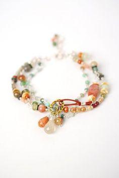 Gent008B Unique handcrafted designer gemstone czech glass crystal sterling silver multistrand bracelet for women
