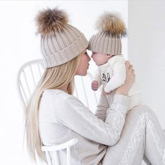 Mom and Baby Matching Knitted Hats Warm Fleece Beanies - Cream