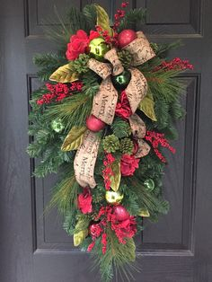 A personal favorite from my Etsy shop https://www.etsy.com/listing/472458600/christmas-wreath-front-door-wreath