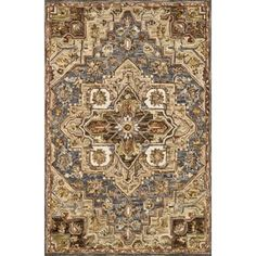 """Hand-hooked Wool Beige/ Grey Traditional Medallion Rug - 3'6"""" x 5'6"""" - Free Shipping Today - Overstock - 27098628"""