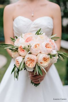 gardenia floral design | peach Juliet garden roses and olive leaf