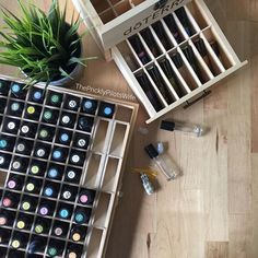 I'm reorganizing my oil collection this morning alphabetically instead of with the rainbow. Do you like my essential oil storage? #essentialoilgoals #goals #doterra #box #storage<br>Learn more about essential oils on my blog: www.thepricklypilotswife.com