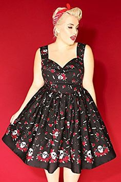 Fashion Plus Size Womens Hell Bunny & Red Rose & Skull Print Vintage…