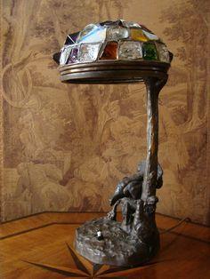 Wiener Bronze Tischlampe Auerhahn Art nouveau Lampe Friedrich Gornik Rubinstein
