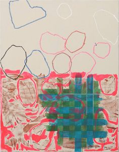 """""""Untitled,"""" pink, blue and green abstract painting by artist Justin Siegel 