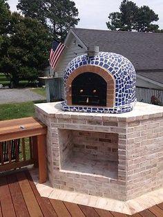 Al aire libre Horno Para Pizzas C / Azulejos de mosaico, de hierro fundido Puerta, aislamiento
